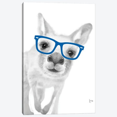 Kangaroo With Blue Glasses Canvas Print #LIP25} by Printable Lisa's Pets Canvas Art Print