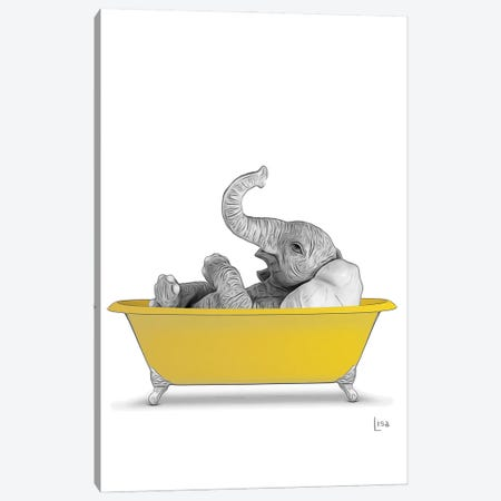 Elephant In Yellow Bathtub Canvas Print #LIP263} by Printable Lisa's Pets Canvas Art