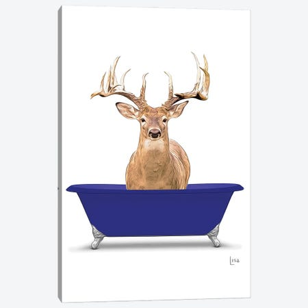 Deer In Blue Bathtub Canvas Print #LIP266} by Printable Lisa's Pets Canvas Art Print