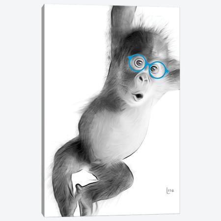 Monkey With Blue Glasses Canvas Print #LIP26} by Printable Lisa's Pets Canvas Print