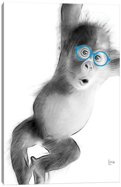 Monkey With Blue Glasses Canvas Art Print