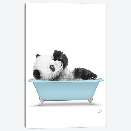 Panda In Blue Bathtub Canvas Print #LIP277} by Printable Lisa's Pets Canvas Art