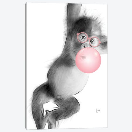 Monkey With Pink Bubble Canvas Print #LIP27} by Printable Lisa's Pets Canvas Print