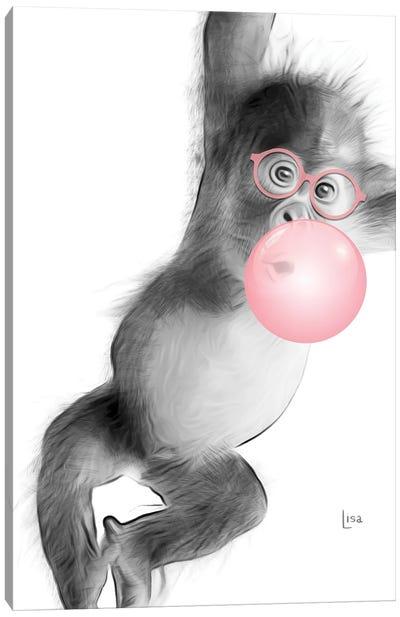Monkey With Pink Bubble Canvas Art Print