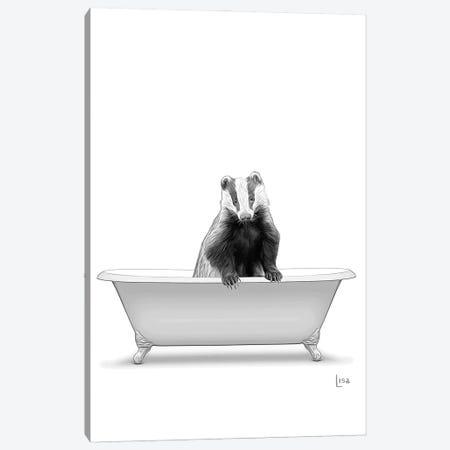 Badger In Bw Bathtub Canvas Print #LIP285} by Printable Lisa's Pets Canvas Art Print