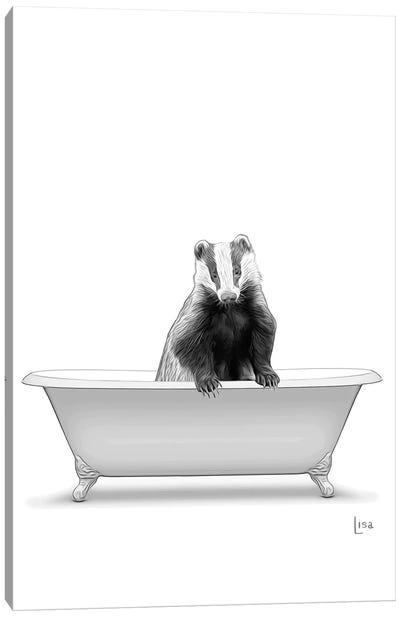 Badger In Bw Bathtub Canvas Art Print