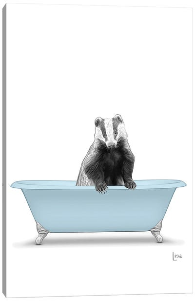 Badger In Blue Bathtub Canvas Art Print
