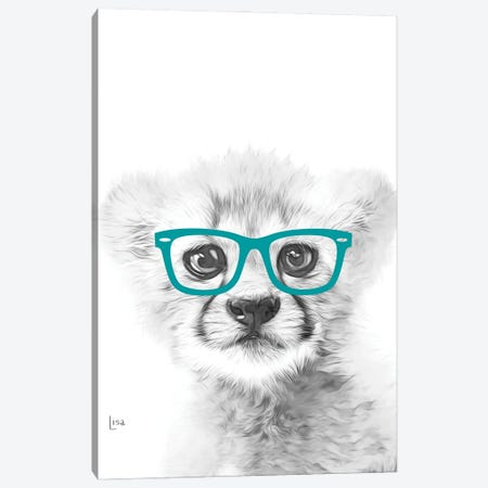 Cheetah With Glasses Canvas Print #LIP28} by Printable Lisa's Pets Canvas Wall Art