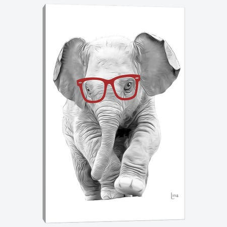 Elephant With Red Glasses Canvas Print #LIP29} by Printable Lisa's Pets Canvas Artwork