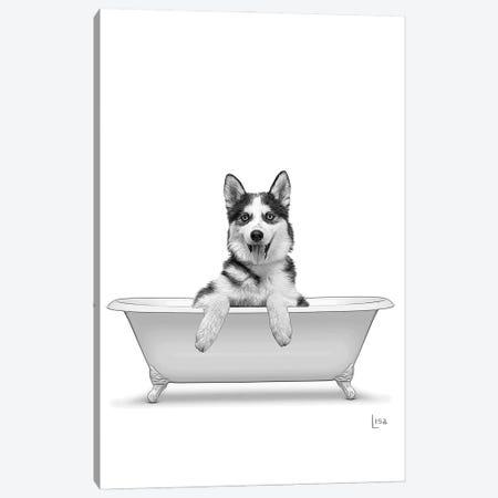 Husky Dog In Bathtub Canvas Print #LIP301} by Printable Lisa's Pets Art Print