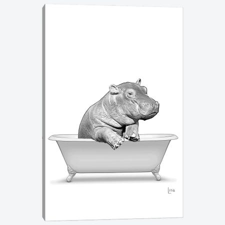Hippo In Bathtub Canvas Print #LIP308} by Printable Lisa's Pets Art Print