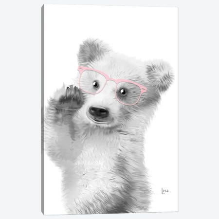 Bear With Pink Glasses Canvas Print #LIP33} by Printable Lisa's Pets Canvas Art Print