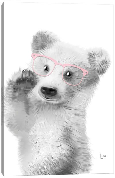 Bear With Pink Glasses Canvas Art Print