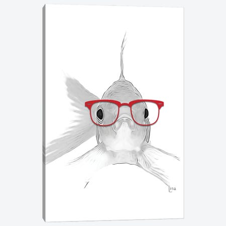 Fish With Red Glasses Canvas Print #LIP34} by Printable Lisa's Pets Canvas Artwork