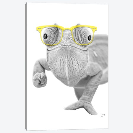 Chameleon With Yello Glasses Canvas Print #LIP38} by Printable Lisa's Pets Canvas Print
