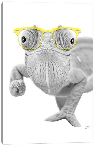 Chameleon With Yello Glasses Canvas Art Print
