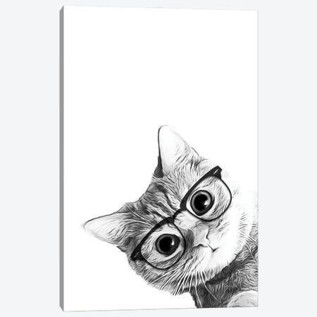 Cat With Black Glasses Canvas Print #LIP3} by Printable Lisa's Pets Canvas Print