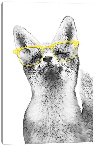 Fox With Yello Glasses Canvas Art Print