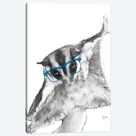 Sugarglider With Blue Glasses Canvas Print #LIP41} by Printable Lisa's Pets Canvas Wall Art