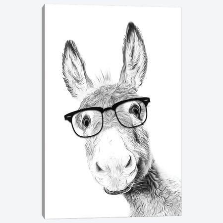 Donkey With Black Glasses Canvas Print #LIP42} by Printable Lisa's Pets Canvas Wall Art