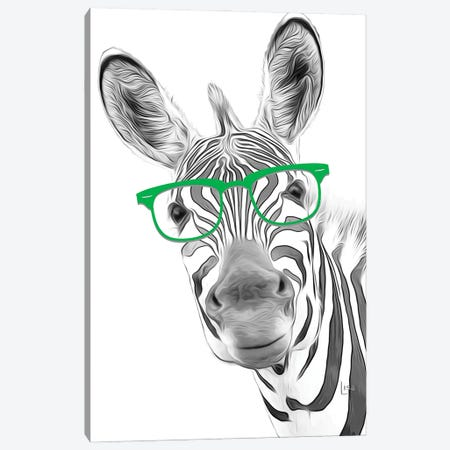 Zebra With Green Glasses Canvas Print #LIP43} by Printable Lisa's Pets Canvas Artwork