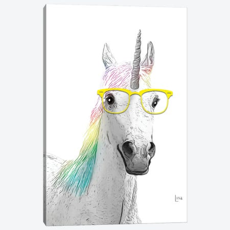Unicorn With Yellow Glasses Canvas Print #LIP45} by Printable Lisa's Pets Canvas Print
