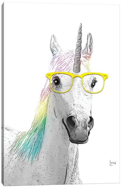 Unicorn With Yellow Glasses Canvas Art Print