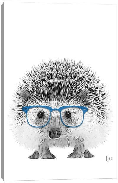 Hedgehog With Blue Glasses Canvas Art Print