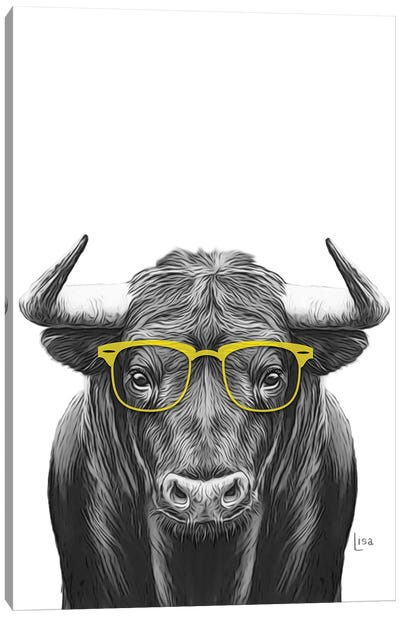 Bull With Yellow Glasses Canvas Art Print