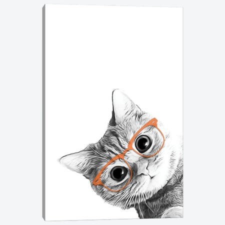 Cat With Orange Glasses Canvas Print #LIP4} by Printable Lisa's Pets Canvas Art