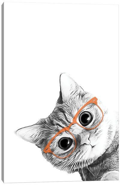 Cat With Orange Glasses Canvas Art Print