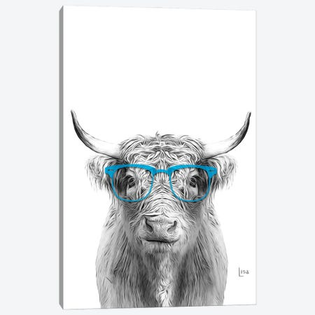 Cow With Light Blue Glasses Canvas Print #LIP55} by Printable Lisa's Pets Canvas Artwork