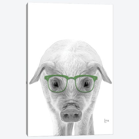 Pig With Green Glasses Canvas Print #LIP56} by Printable Lisa's Pets Canvas Artwork