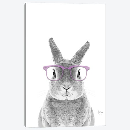 Bunny With Lavander Glasses Canvas Print #LIP57} by Printable Lisa's Pets Canvas Art