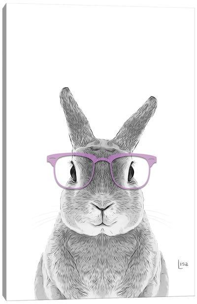 Bunny With Lavander Glasses Canvas Art Print