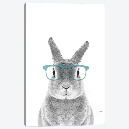Bunny With Real Aqua Glasses Canvas Print #LIP58} by Printable Lisa's Pets Canvas Art Print
