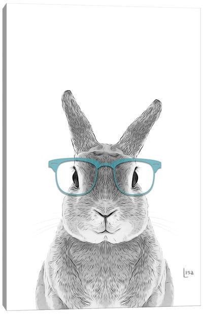 Bunny With Real Aqua Glasses Canvas Art Print