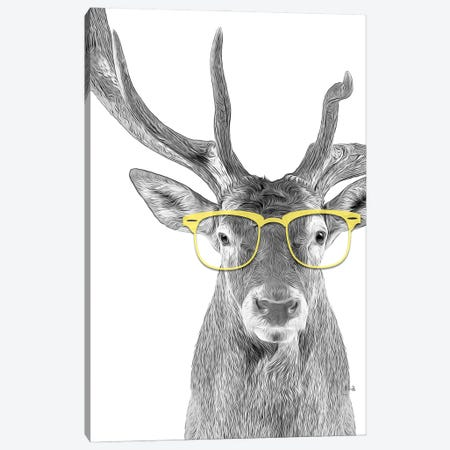 Deer With Yellow Glasses Canvas Print #LIP60} by Printable Lisa's Pets Canvas Art