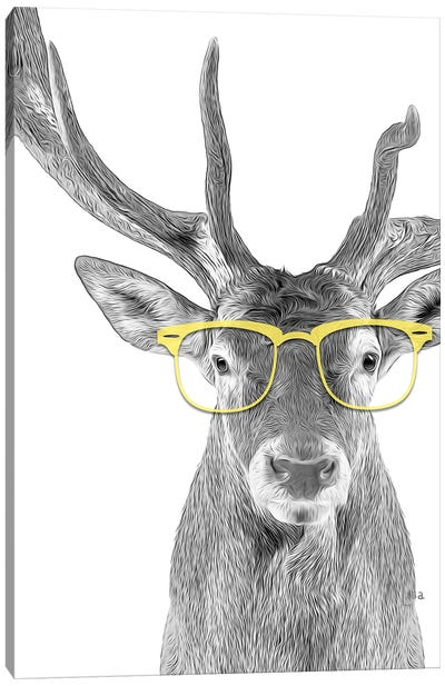 Deer With Yellow Glasses Canvas Art Print
