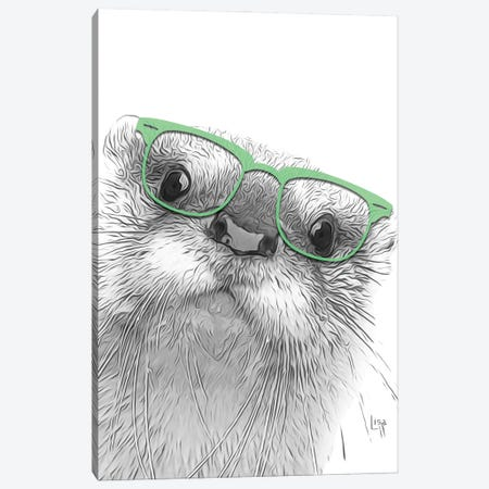 Otter With Glasses Canvas Print #LIP62} by Printable Lisa's Pets Canvas Art