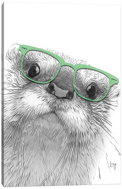 Otter With Glasses Canvas Art Print