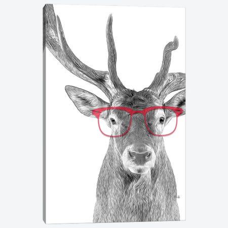 Deer With Red Glasses Canvas Print #LIP63} by Printable Lisa's Pets Canvas Artwork