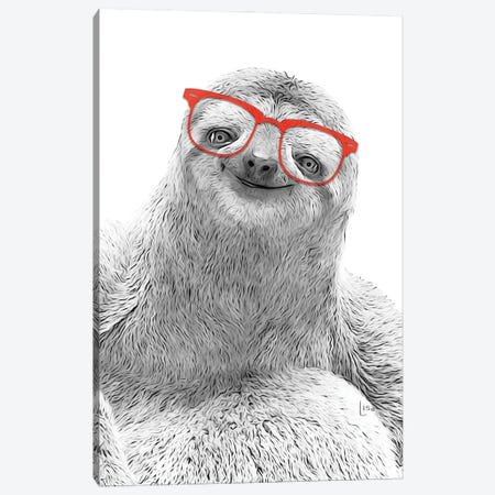 Sloth With Red Glasses Canvas Print #LIP64} by Printable Lisa's Pets Canvas Art Print