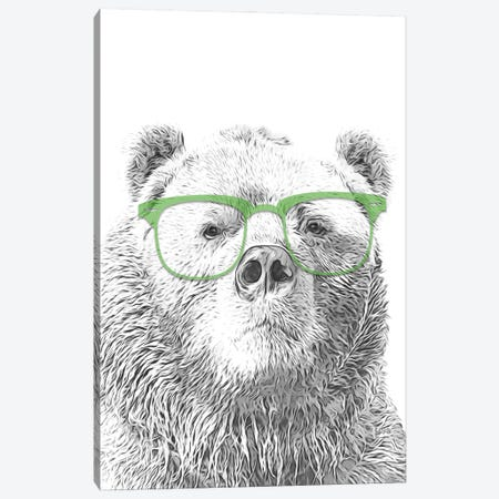 Bear With Glasses Canvas Print #LIP65} by Printable Lisa's Pets Canvas Art Print