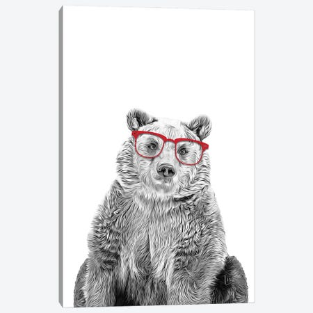 Bear With Red Glasses Canvas Print #LIP66} by Printable Lisa's Pets Canvas Print