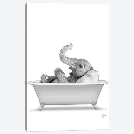 Elephant In The Bath Bn Canvas Print #LIP68} by Printable Lisa's Pets Canvas Artwork