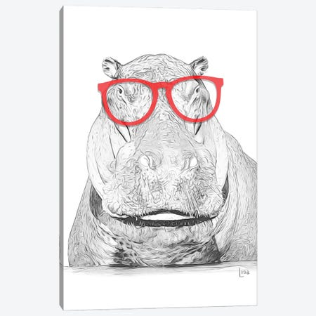 Hippo With Red Glasses Canvas Print #LIP6} by Printable Lisa's Pets Canvas Art