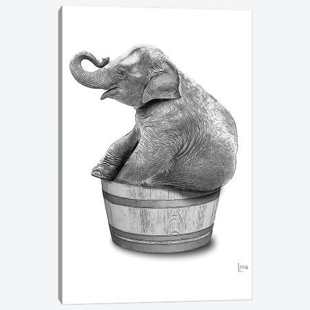 Elephant In The Tub Bn Canvas Print #LIP70} by Printable Lisa's Pets Canvas Art Print