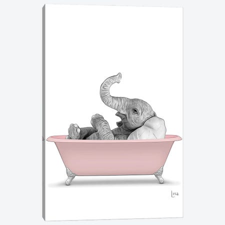 Elephant In The Pink Bath Canvas Print #LIP74} by Printable Lisa's Pets Canvas Art