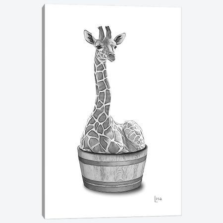 Giraffe In The Tub Bw Canvas Print #LIP78} by Printable Lisa's Pets Canvas Art Print